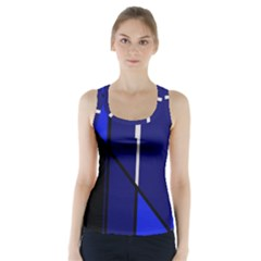 Blue Abstraction Racer Back Sports Top by Valentinaart
