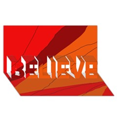 Red And Orange Decorative Abstraction Believe 3d Greeting Card (8x4)  by Valentinaart
