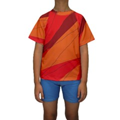 Red And Orange Decorative Abstraction Kid s Short Sleeve Swimwear by Valentinaart
