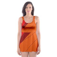 Red And Orange Decorative Abstraction Skater Dress Swimsuit by Valentinaart