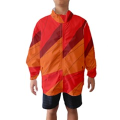 Red And Orange Decorative Abstraction Wind Breaker (kids)