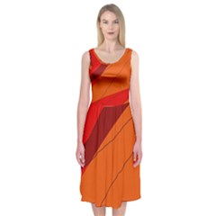 Red And Orange Decorative Abstraction Midi Sleeveless Dress