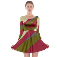 Decoratve Abstraction Long Sleeve Skater Dress