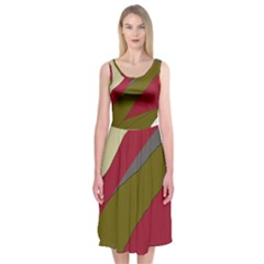 Decoratve Abstraction Midi Sleeveless Dress