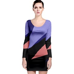 Purple And Pink Abstraction Long Sleeve Bodycon Dress by Valentinaart