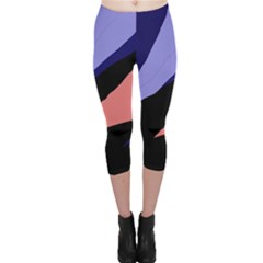 Purple And Pink Abstraction Capri Leggings  by Valentinaart