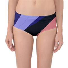 Purple And Pink Abstraction Mid Waist Bikini Bottoms by Valentinaart