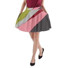 Colorful Abstraction A Line Pocket Skirt by Valentinaart