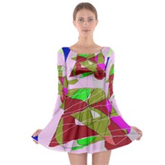 Flora Abstraction Long Sleeve Skater Dress by Valentinaart