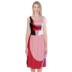 Decorative Geomeric Abstraction Midi Sleeveless Dress by Valentinaart