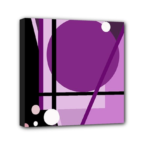 Purple Geometrical Abstraction Mini Canvas 6  X 6  by Valentinaart