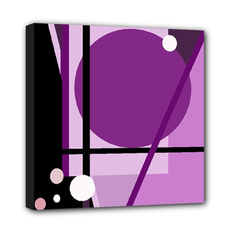 Purple Geometrical Abstraction Mini Canvas 8  X 8