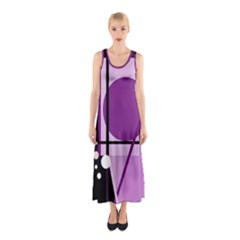 Purple Geometrical Abstraction Sleeveless Maxi Dress by Valentinaart