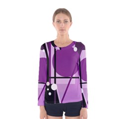 Purple Geometrical Abstraction Women s Long Sleeve Tee by Valentinaart