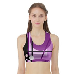 Purple Geometrical Abstraction Sports Bra With Border by Valentinaart
