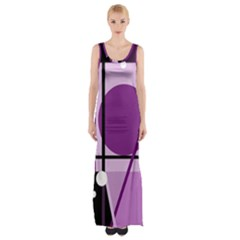 Purple Geometrical Abstraction Maxi Thigh Split Dress