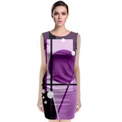 Purple Geometrical Abstraction Classic Sleeveless Midi Dress