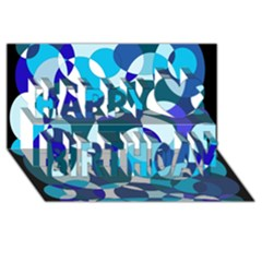 Blue Abstraction Happy Birthday 3d Greeting Card (8x4)  by Valentinaart