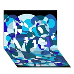 Blue Abstraction Love 3d Greeting Card (7x5)  by Valentinaart
