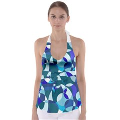 Blue Abstraction Babydoll Tankini Top by Valentinaart