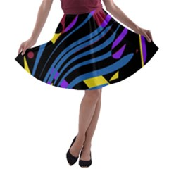 Optimistic Abstraction A-line Skater Skirt by Valentinaart