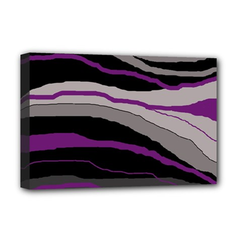 Purple And Gray Decorative Design Deluxe Canvas 18  X 12   by Valentinaart