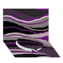 Purple And Gray Decorative Design Circle Bottom 3d Greeting Card (7x5)  by Valentinaart