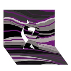Purple And Gray Decorative Design Ribbon 3d Greeting Card (7x5)  by Valentinaart