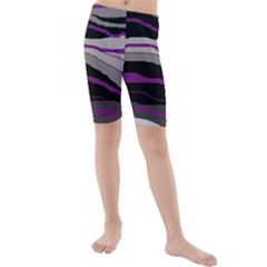 Purple And Gray Decorative Design Kid s Mid Length Swim Shorts by Valentinaart