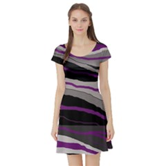 Purple And Gray Decorative Design Short Sleeve Skater Dress