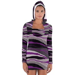 Purple And Gray Decorative Design Women s Long Sleeve Hooded T-shirt