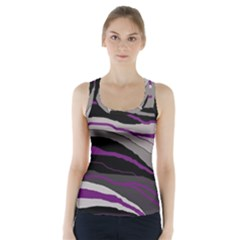Purple And Gray Decorative Design Racer Back Sports Top by Valentinaart