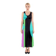 Abstract Landscape Sleeveless Maxi Dress by Valentinaart