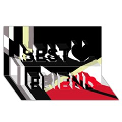 Red And Black Abstraction Best Friends 3d Greeting Card (8x4)