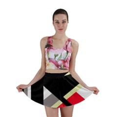 Red And Black Abstraction Mini Skirt by Valentinaart