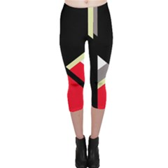 Red And Black Abstraction Capri Leggings  by Valentinaart