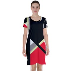 Red And Black Abstraction Short Sleeve Nightdress by Valentinaart