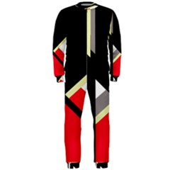 Red And Black Abstraction Onepiece Jumpsuit (men)  by Valentinaart