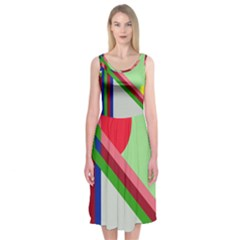 Decorative Abstraction Midi Sleeveless Dress by Valentinaart