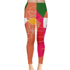 Orange Abstraction Leggings  by Valentinaart