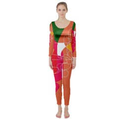 Orange Abstraction Long Sleeve Catsuit by Valentinaart