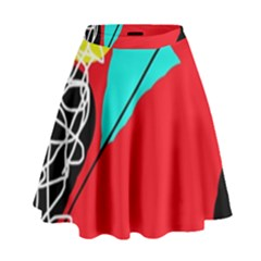 Colorful Abstraction High Waist Skirt by Valentinaart