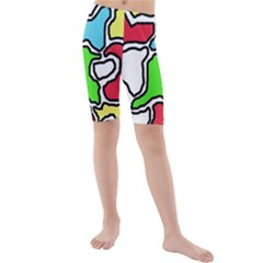 Colorful Abtraction Kid s Mid Length Swim Shorts by Valentinaart