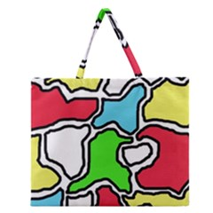 Colorful Abtraction Zipper Large Tote Bag