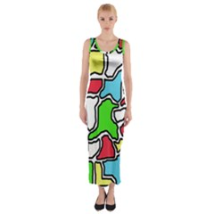 Colorful Abtraction Fitted Maxi Dress by Valentinaart