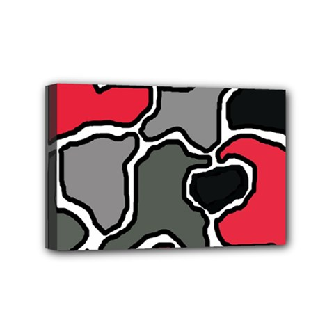 Black, Gray And Red Abstraction Mini Canvas 6  X 4  by Valentinaart