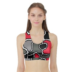 Black, Gray And Red Abstraction Sports Bra With Border by Valentinaart