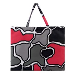 Black, Gray And Red Abstraction Zipper Large Tote Bag by Valentinaart
