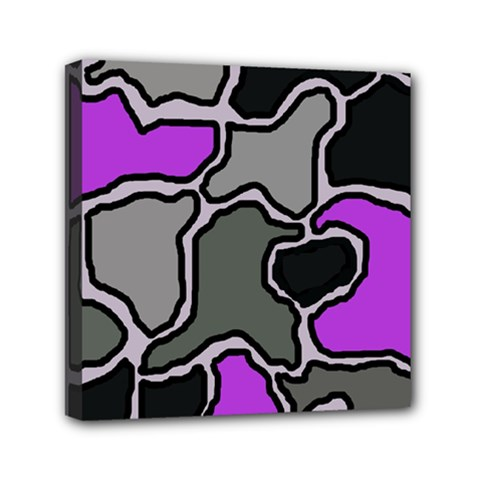 Purple And Gray Abstraction Mini Canvas 6  X 6  by Valentinaart