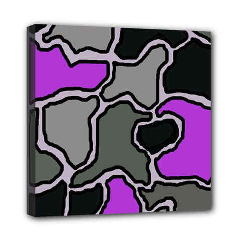 Purple And Gray Abstraction Mini Canvas 8  X 8  by Valentinaart